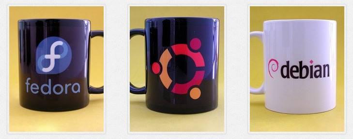 Canecas Fedora, Ubuntu e Debian
