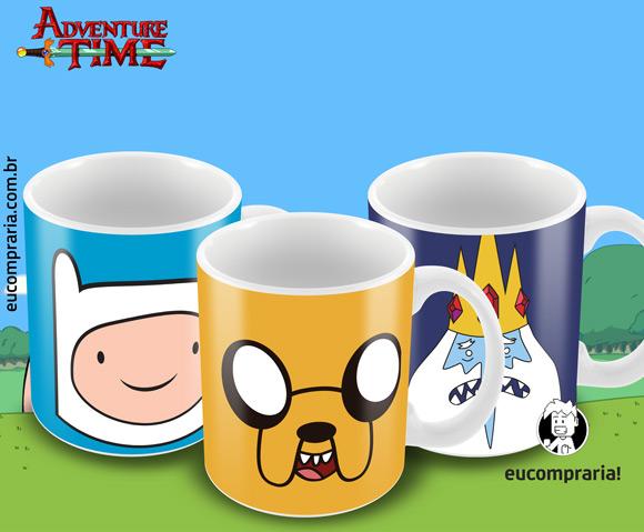 Conjunto de Canecas Adventure Time - Jake, Finn e Rei Gelado